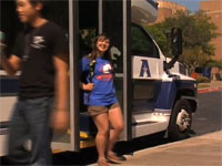 students using the shuttle bus