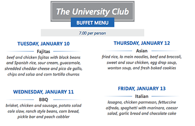 University Club buffet