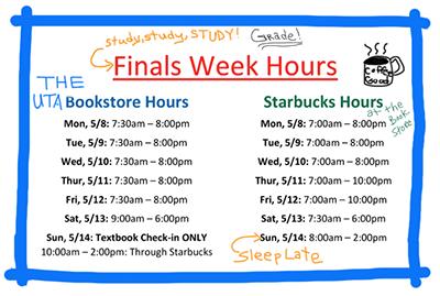 bookstore hours-finals