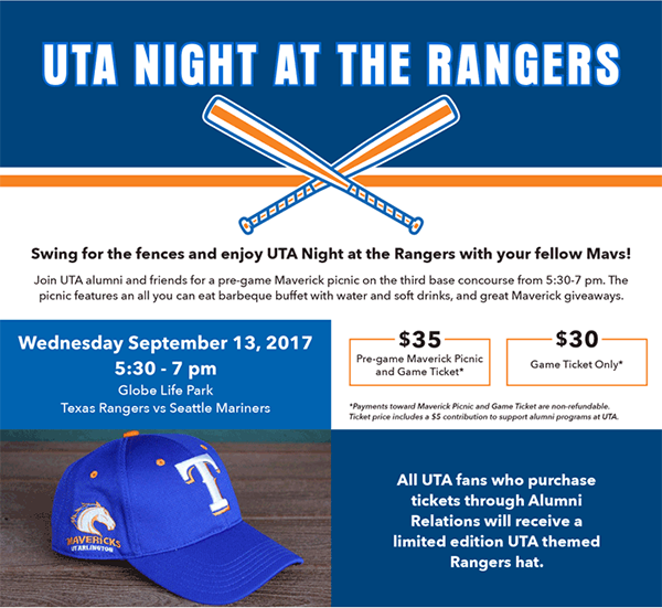 UTA Night at the Rangers