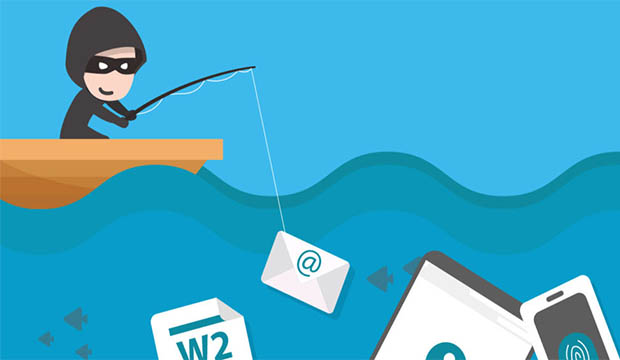 Crook fishing (phishing) from a boat for email, bank, internet passwords