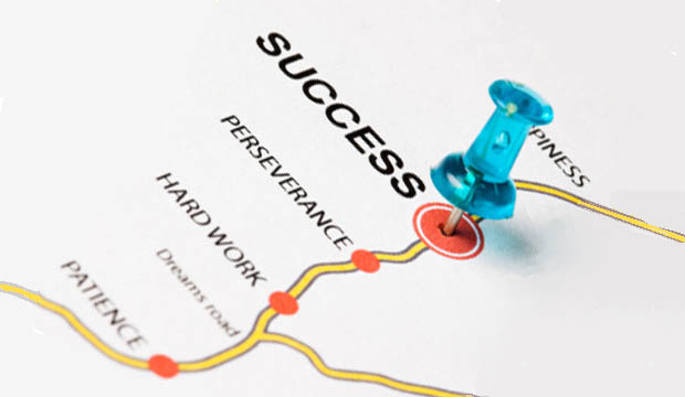 Career Roadmap showing a roadmap with a push pin at SUCCESS