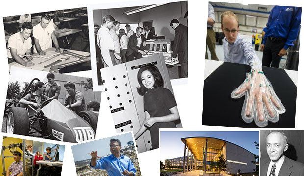 Collage of photos from the College of Engineering over the last 60 years.