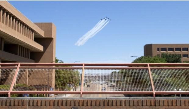 Blue Angels flying over UTA