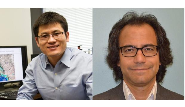 textAssociate Professor Xinbao Yu and Professor Laureano Hoyos, both of UTA's Civil Engineering Department.
