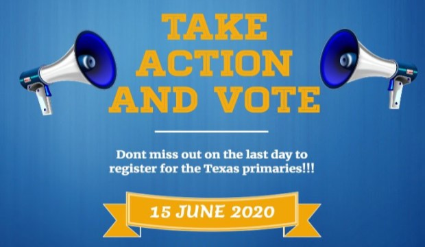 Last chance to register to vote in Texas primaries run-offs is June 15.