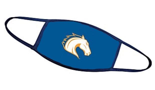 Facemask with UTA's Blaze horse.