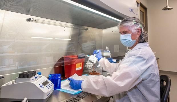 Lab technician at North Texas Genome Center handles covid testing kit.