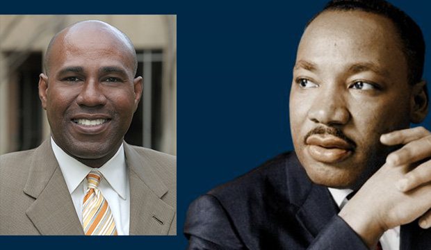 Photos of Zeb Strong and Martin Luther King Jr.