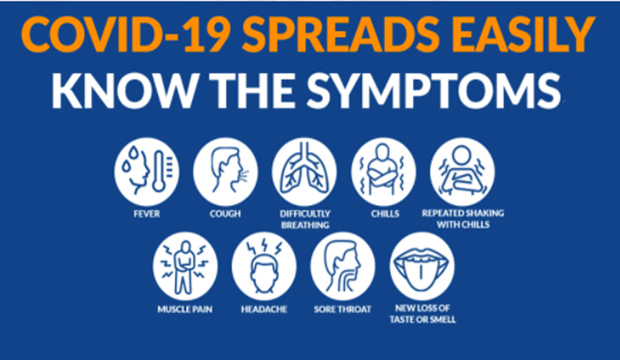 COVID-19 spread easily. Know the symptoms. Fever. Cough. Difficulty Breathing. Chills. Repeated Shaking with Chills. Muscle pain. Headache. Sore throat. New loss of taste or smell.