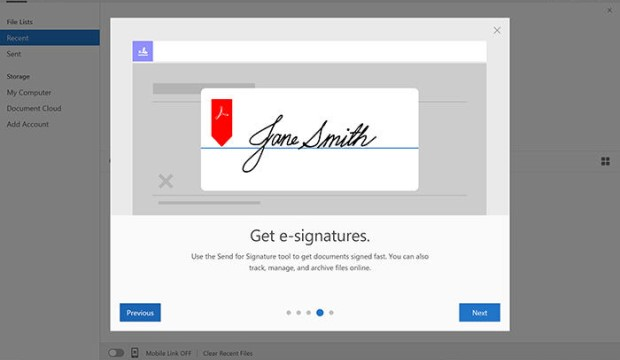 Adobe Sign program with image of digital signature of Jane Smith.