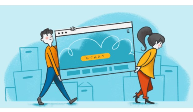Drawing of two people carrying a computer.