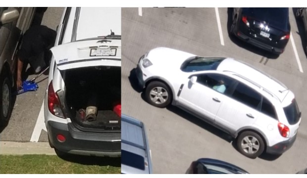 Suspect car in theft of catalytic converters on campus is a white Chevrolet Captiva.