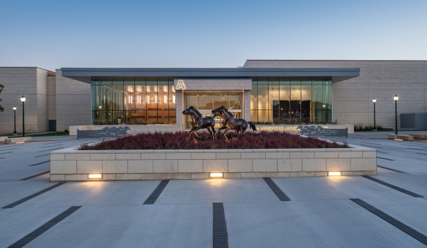 New north entrance to the E.H. Hereford University Center.