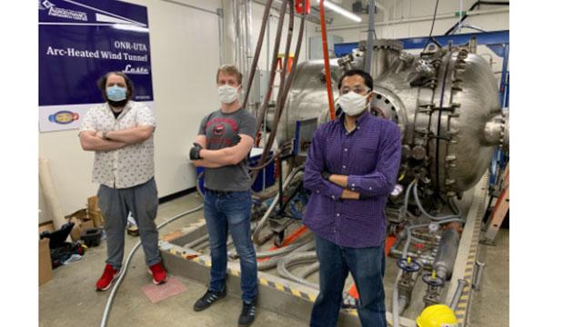 UTA doctoral student Daniel Palmquist, postdoctoral researcher Davide Vigano, and doctoral student Vijay Gopal