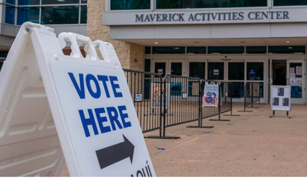 Vote Here sign in front of Maverick Activities Center.
