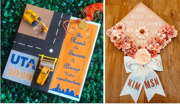Decorated mortar boards.