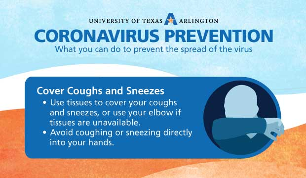 Coronavirus Prevention: Cover Coughs and Sneezes. Use tissues to cover your coughs and sneezes, or use your elbow if tissues are unavailable. Avoid coughing or sneezing directly into your hands.