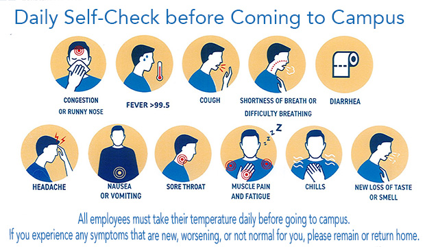 Daily Self-Check before Coming to Campus. All employees must take their temperature daily before going to campus. If you experience any symptoms that are new, worsening or not normal for you, please remain or return home.