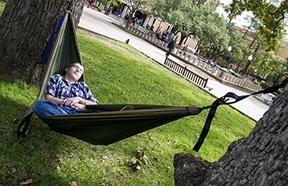 student in hammock