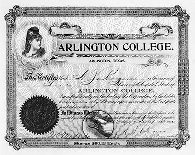 Arlington College stock certificate