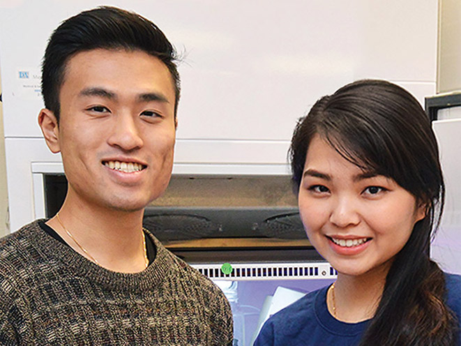 Dustin Luu and Hillary Vo were lead authors on a peer-reviewed article as undergraduates.