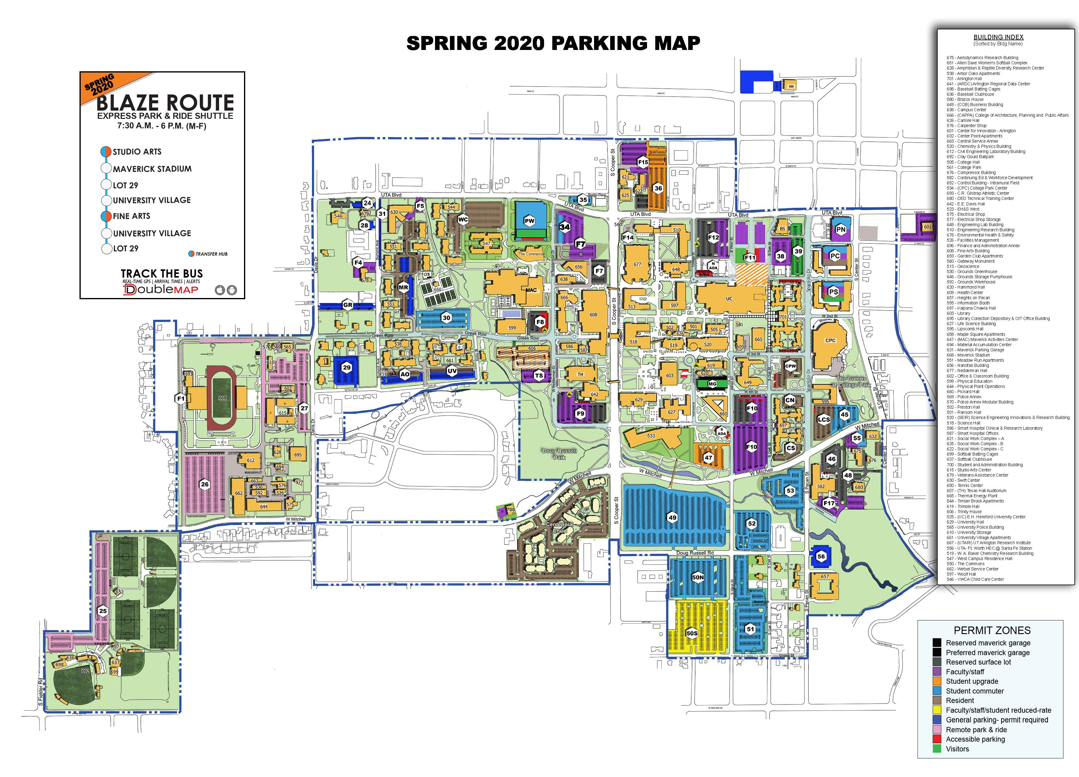 university of texas at arlington campus map General Parking Map Parking And Transportation Services The