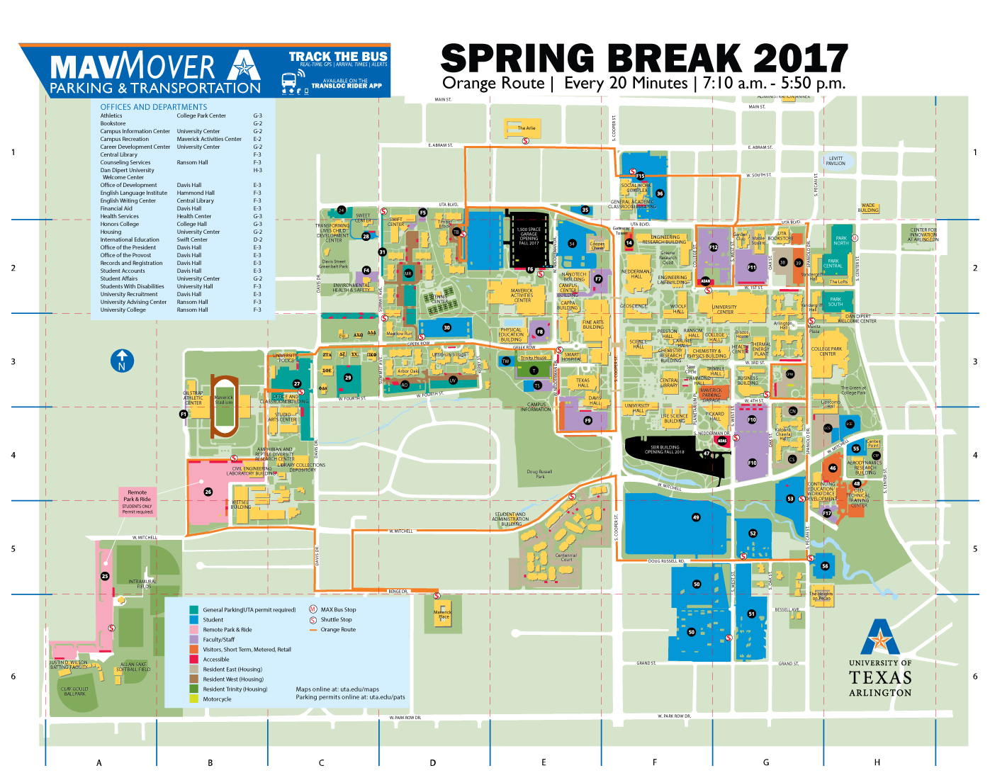university of texas at arlington campus map 2017 Spring Break Bus Route Parking And Transportation Services