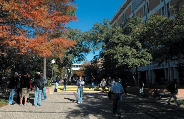Students walk through the Library mall.