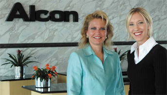 Alcon CFO Jackie Fouse with intern Meredith Faltermeier