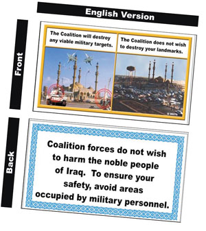 English version of leaflets dropped in Iraq
