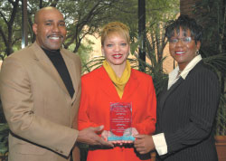 Zeb Strong ('88), Outstanding African-American Alumna Dorothy Burton ('82, '89) and Alumni Association President Sonya Rundles ('88)