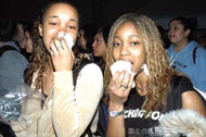 students eating cotton candy