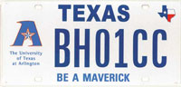 UT Arlington license plate
