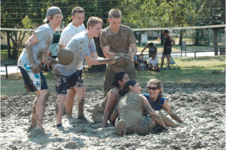 students playing Oozeball