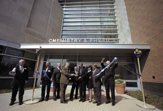 ribbon cutting at Chemistry and Physics Building