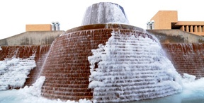 Fountain with ice