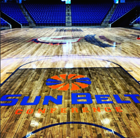 Sun Belt on court floor