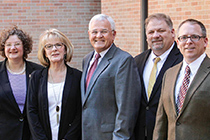 College of Business Dean Rachel Croson, Cathy and Jimmy Campbell, Cleburne ISD Superintendent Kyle Heath, and Cleburne High School Principal Chris Jackson.